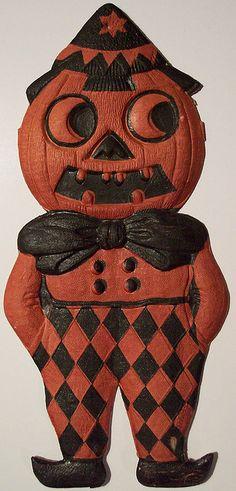 Halloween Diecut Pumpkin Man Made in Germany. Retro Halloween, Halloween Photos, Holidays Halloween, Halloween Pumpkins, Halloween Crafts, Happy Halloween, Halloween Stuff, Halloween Ideas, Cards