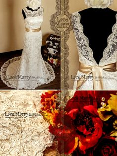 Deep V-Cut Back Lace Wedding Dress Wedding Dresses von LaceMarry