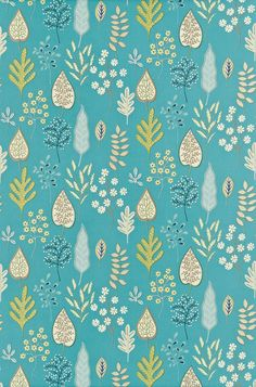Zosa (120129) - Harlequin Fabrics - Stylised decorative flowers, leaves and ferns on an open-spaced background. Shown in the Ocean, Neutral, Lemon colourway. Please request sample for true colour match.