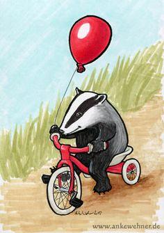 Badger at Play by ankewehner.deviantart.com on @deviantART Woodland Creatures, Woodland Animals, Badger Illustration, Cute Drawings, Pen Drawings, Honey Badger, Animal Faces, Painting Lessons, Fantastic Beasts