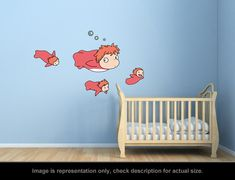 Ponyo Inspired  Ponyo and Sisters Wall Art Applique by carl895