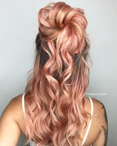 "3,575 Likes, 29 Comments - Hair Makeup Nails Beauty (@hotonbeauty) on Instagram: ""  Peachy Queen   by @stephygnarstagram Beautiful and unique hair color and style Stephany! …"""