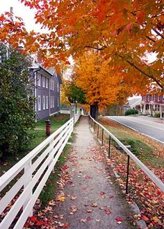 "♥ ~ ♥ Shakers ♥ ~ ♥""Main [sic] Street in Autumn"", Canterbury Shaker Village, New Hampshire Visit Maine, Village Photos, Mount Desert Island, Photography Competitions, Photography Gallery, New Hampshire, Fences, Main Street, Vermont"
