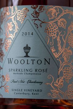 Woolton Farm has a beautiful vineyard from which they make highly exclusive and absolutely stunning sparkling rosé wine.We wanted to take everything that was unique about this wine and turn it into an equally high quality premium label. As a single vin Wine Bottle Design, Wine Label Design, Wine Bottle Labels, Beer Labels, Pinot Noir, Canterbury, Negroni Cocktail, Etiquette Champagne, Wine Brands