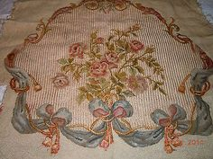 Handwoven-ANTIQUE-Silk-Aubusson-Tapestry-Needlepoint-CHAIR-COVER-from-FRANCE