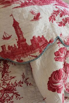 Toile de jouy - a huge fave linen. I navy , red and taupe linens from France, something beautiful! Chinoiserie, Toile Bedding, Comforter, Red Cottage, Purple Home, French Fabric, Linens And Lace, Vintage Textiles, Linen Fabric
