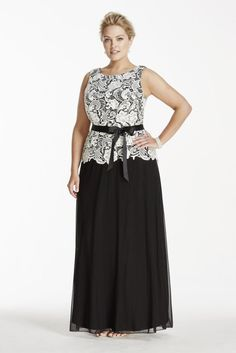 Plus Size Lace Tank Bodice Mock Mother of Bride/Groom Dress with Ribbon Sash - Black / White, 20W