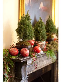 Fresh pomegranates pop against a fragrant evergreen garland and a row of mini conifers.