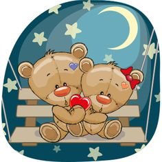 Moonlight Teddy Bears - Facebook Symbols and Chat Emoticons