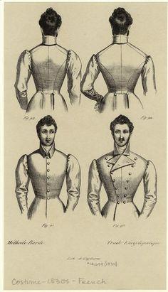 1830s mans coat detail