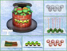Teenage Mutant Ninja Turtles Dessert table with matching TMNT cake.  www.facebook.com/i.love.cuteology.cakes