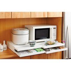 家電周りでの調理をサポートするレンジ下スライドテーブル 引き出し付き 幅80cm 通販 - ディノス