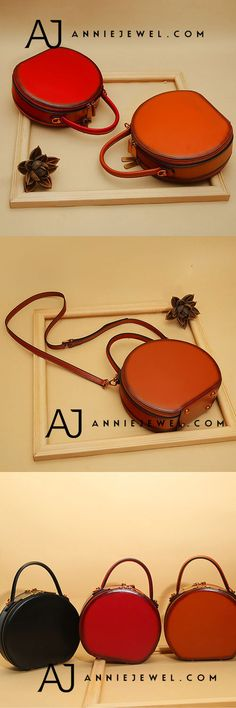 GENUINE LEATHER HANDBAG VINTAGE CIRCLE ROUND SHOULDER BAG CROSSBODY BAG PURSE CLUTCH FOR WOMEN