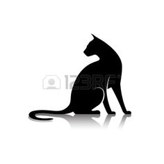 chat tatouage tr s haute silhouette originale de la qualit d 39 un chat couch sur une branche. Black Bedroom Furniture Sets. Home Design Ideas