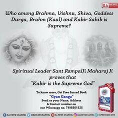 "Prakriti Devi (Durga) has eight arms and 64 Kalaas (arts/skills). Supreme God has infinite divine powers. To know, Must Read Sacred Book ""Gyan Ganga"" by Chaitra Navratri, Navratri Wishes, Happy Navratri, Navratri Special, Durga Ji, Durga Goddess, Navratri Quotes, Maa Durga Image, Who Is The Father"