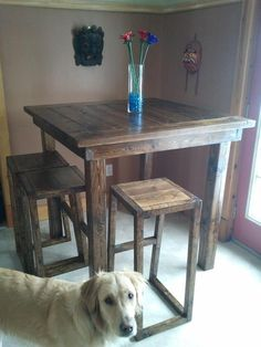 Build this pub style table for around $70... step by step instructions. Love this for outside!
