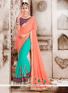 We have ensemble a symphony of enchanting piece to restyle your senses. Make the heads flip as soon as you costume up with this charming sea green georgette designer saree. The brilliant dress creates...