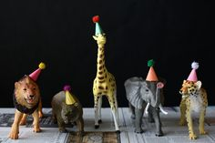animal theme birthday party  (party hats)