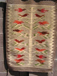 Vintage Mexican Rug / Mexico Birds In Tree Rug / Tree Of Life Rug
