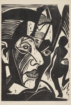 Ernst Ludwig Kirchner, Selbstbildnis (Melancholie der Berge), 1929 Holzschnitt © Museum Folkwang, 2012