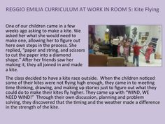 REGGIO EMILIA CURRICULUM IN ROOM 5: Kite Flying Creates Experiences in Planning, Building, Problem Solving and Discoveries about Weather and Wind.