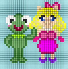 Kermit And Miss Piggy Perler Bead Pattern / Bead Sprite