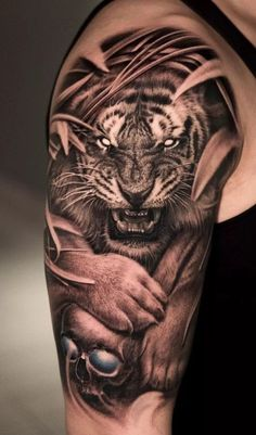 Tiger Face Tattoo, Tiger Tattoo Sleeve, Lion Tattoo Sleeves, Tiger Tattoo Design, Mens Lion Tattoo, Dragon Sleeve Tattoos, Forearm Tattoo Design, Full Sleeve Tattoos, Tiger Design