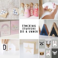 Stuck for a gift idea? We've got lots of handmade products to choose from, some from just $8, here are some ideas of stocking fillers for $15 and under.  Trivets, peg people, mini cross trivets, prints, wooden teepees, house blocks, and star blocks. #stockingstuffers #stockingfillers #christmasgifts #shopsmall #handmade @theperthcollective