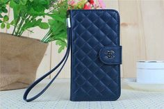 Chanel Samsung Galaxy S5 Leather Case Luxury Designer Wallet Light Dark Blue Free shipping - Deluxeiphonecase.com