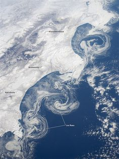 Ice floes off the Kamchatka peninsula