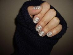 Newspaper nails: apply light colour, dip nails in vodka, press newspaper to the nails for 30 secs. Add top coat