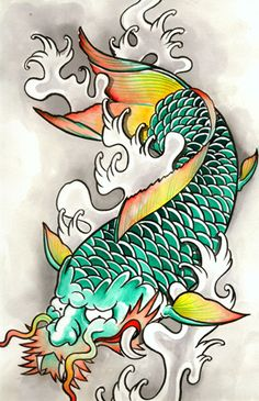 the dragon koi by tattooKame.deviantart.com on @DeviantArt