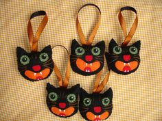 Halloween Black Cat Hand-Stitched Felt Ornaments by MyDisgustedCats, $8.00 each
