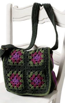 Amazing crochet granny square messenger bag.