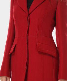 Luisa Spagnoli Cappotto in lana con dettagli in velluto stilla rosso
