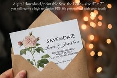 Printable save the date, botanical Save the Date, custom save the date, pink rose save the date, digital save the date, you print, 7 x 5 by OurFriendsEclectic on Etsy