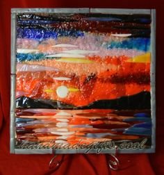 Sunset fused glass picture