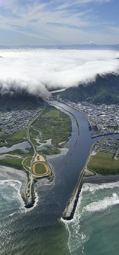 Aerial view of Greymouth, West Coast, South Island, New Zealand Tasmania, Fuerza Natural, Living In New Zealand, New Zealand South Island, New Zealand Travel, Auckland, Australia Travel, West Coast, Places To See
