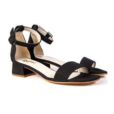 2757d603e8ac7 Beyond Skin Salma black vegan mid heel ankle strap sandal shoe made from  black non leather