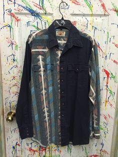 Mens vintage cowboy shirt long sleeve snap down south by RagsAGoGo