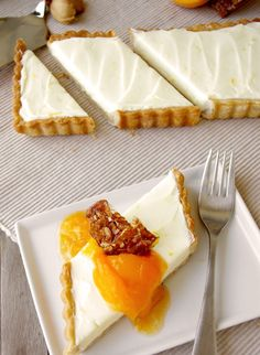 Honey Mascarpone Tart with Almond Crust, Apricot Compote thesepeasarehollow.blogspot.com