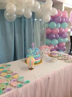 Hot air balloon birthday Balloon Birthday, Rainbow Birthday, Princess Birthday, Hot Air Balloon, Mermaid, Birthday Parties, Party Ideas, Parties, Birthday Celebrations