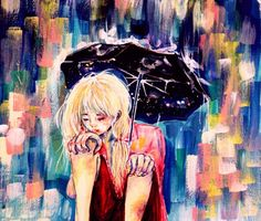 #illust #charicter #sketch #coloring #drawing #art #watercolor #background #rainyday #umbrella