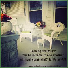 Evening Scripture: Be hospitable to one another without complaint.. #eveningscripture #scripturequote #biblequote #instabible #instaquote #quote #seekgod #godsword #godislove #gospel #jesus #jesussaves #teamjesus #LHBK #youthministry #preach #testify #pray #hospitality #love