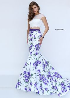 Sherri Hill 50421 Purple/Ivory Floral Printed Two Piece Mermaid Dress