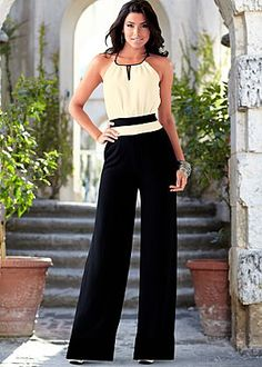 Keyhole front jumpsuit from VENUS women's swimwear and sexy clothing. Order Keyhole front jumpsuit for women from the online catalog or Classy Outfits, Beautiful Outfits, Cute Outfits, Black Outfits, Work Fashion, Fashion Outfits, Womens Fashion, Spring Fashion, Pantalon Large