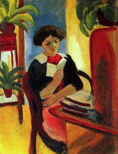 August Macke- Elisabeth am Schreibtisch