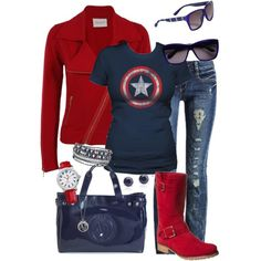Captain America Outfit (minus the boots, they're awful) Mode Outfits, Fashion Outfits, Womens Fashion, Captain America Outfit, Capt America, Looks Style, Style Me, Amarillis, Looks Jeans