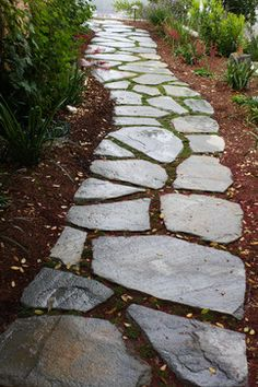 Meandering flagstone garden path - Contemporary - Garden - San Luis Obispo - by Sage Ecological Landscapes