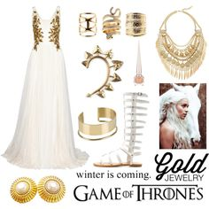 Khaleesi by hannderella on Polyvore featuring Marchesa, Charlotte Russe, Cara, Chanel, Rachel Entwistle, By Malene Birger, Christian Louboutin, Laundry, GameOfThrones and goldjewelry